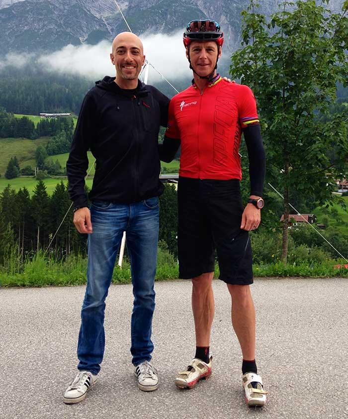 Giulio Altadonna e Conrad Stoltz (7 volte campione del mondo di triathlon off road)
